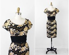 vintage 50s 60s dress // Black, Gold, and Silver Floral Shimmer Print Wiggle Cocktail Dress with Chiffon Waistband