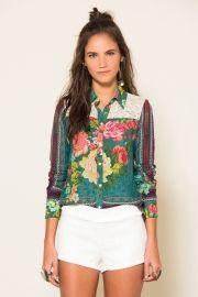 camisa renda floral nirvana
