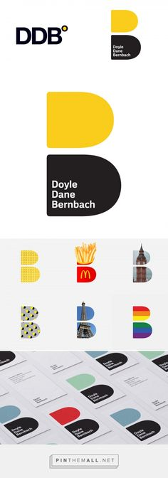 Brand New: New Logo and Identity for DDB done In-house and with Ian Brignell. - a grouped images picture Stationeries, Corporate Design, Logo Design Inspiration, Pinterest Marketing, Mall, Identity, Monogram, Branding, Logos