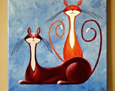 "Original Fantasy Cat Acrylic Painting for Sale ""Two Watchful Cats in Burgundy and Orange"""