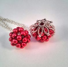 Ruby Red Pearl Beaded Bead Pendant Necklace by ElizabethMDJewelry, $19.00