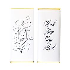 Calligraphy Script Monogram Personalized Candy Bar Wrapper - Sweet Paper Shop - Black, White, Gold Foil