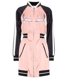 Red Valentino Embroidered Satin Bomber Jacket Dress, Pink In Eudo Embroidered Bomber Jacket, Satin Bomber Jacket, Girls Bomber Jacket, Pink Bomber, Frack, Satin Jackets, Mode Hijab, Jacket Dress, Pink Jacket