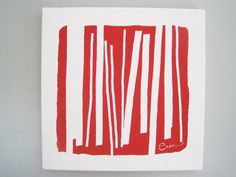 Abstract Wall Art Modern Lines in Red Silk Screened by erinflett, $45.00