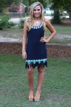 Boho Chic Dress: Navy - Off the Racks Boutique