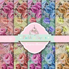 Gorgeous Flowers - Instant Download - Digital Collage Sheet - Floral Paper - Decoupage Paper - Scrapbooking - Roses - Vintage Paper