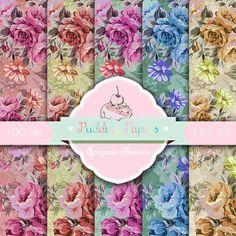 Gorgeous Flowers - Instant Download - Digital Collage Sheet - Floral Paper - Decoupage Paper - Scrapbooking - Roses - Vintage Paper