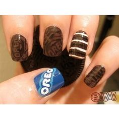 Wow. #Awesome oreo themed nail art!