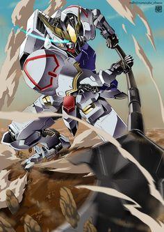 Gundam Barbatos, Gundam Tekketsu no Orphans artwork by Nametake Cheese. Gundam 00, Gundam Wing, Gundam Toys, Robot Concept Art, Robot Art, Robots, Gundam Bael, Transformers, Blood Orphans