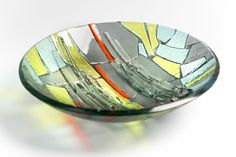 Bespoke kiln-formed glass bowl. 240mm dia. Available to order from , www.jovincent.com Kiln Formed Glass, Geology, Bespoke, Decorative Bowls, It Cast, Surface, Colours, Texture, Collection