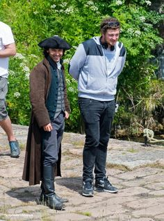 Via Poldark Photos ‏@PoldarkPhotos   Aidan Turner as #Poldark with director, @Sarah Chintomby Chintomby Mcgregor on set at Charlestown.