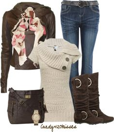 I like that sweater the best, asymmetrical and short sleeve for living in Phx, brown leather jacket might be fun, I like the scarf, I have a brown leather bag and watch, I want tall brown boots