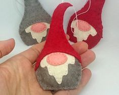 mini felt elves - Felt gnome ornament - Christmas elf nordic decoration - scandinavian - red grey white home decor for her