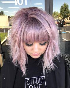 "764 Likes, 34 Comments - Elizabeth Sparks (@locksbylizsparks) on Instagram: ""Mauve hair #modernsalon #joicointensity #edgystyle #fringe #alinebob"""