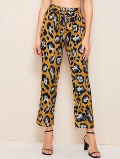 Women Leopard Tie Front Pants - Kiddenmart Flare Leg Pants, Wide Leg Pants, Type Of Pants, Pants For Women, Clothes For Women, Drawstring Pants, Printed Pants, Straight Leg Pants, Autumn Summer