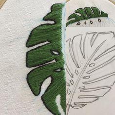 #몬스테라 잎을 수 놓고 있어요^^ 처음 놓고 있지만 앞으로 몬스테라의 매력에 폭 빠질 것 같아요/ I'm working on #monstera leaf actually this is the first time to sketch and stitch a monstera leaf but i got to know i'll love this #leaf and its #greencolor so much✨ . . . / sketched and designed by © #thessukie/ #embroiderydesign #자수도안 #embroiderypattern #프랑스자수 #handembroidery #handmade #stitch #hoopart #sketching #nature #plants #doodle #embroiderydesign 복사,재배포,상업적이용 안돼요