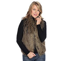 Way into the faux fur this season! Donna Salyers Fabulous-Furs Faux Fur Stand Collar Two-Pocket Vest