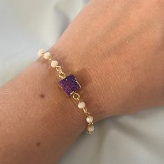 Purple Druzy bracelet Brand New Never worn! See my closet for additional Boutique quality piecestrades - I have over 400 brand new boutique quality items available for sale - due to poshmark fees price is firm unless bundled! We offer great bundle deals Which include 10% off bundles of 2 & 30% off bundles of 3❗️❗️ Jewelry Bracelets