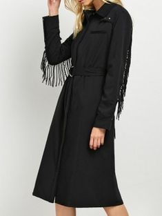 Belted Fringed Shirt Dress - Black M
