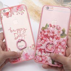 패션 꽃 반지 장미 스탠드 다시 커버 아이폰 6 전화 케이스 애플 아이폰 6 초 플러스 럭셔리 케이스