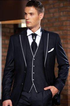 2015 New Style Two Button Groom Tuxedos Black Best Man Notch Lapel  Groomsmen Men's Wedding Suits Bridegroom(Jacket+Pants+Tie+Vest)