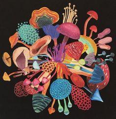 Fungus Among Us by Geninne on Etsy Botanical Illustration, Watercolor Illustration, Watercolor Art, Fungi, Psychadelic Art, Mushroom Art, Guache, Hippie Art, Art Inspo