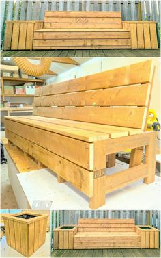 Side planters are always presentation of patio furniture. Pallet wood Planters with the benches is really a delightful idea ever for your patio setting. Your delights are in the plants then this patio bench is just for you. Enjoy planters with bench sitting in your patio area.