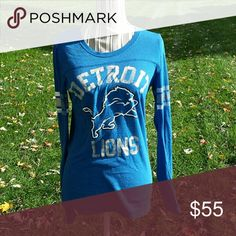 Vs Pink Detroit Lions long sleeve Victoria's secret Pink Detroit Lions long sleeve. Victoria's secret did not renew their contract with the NFL on sports teams therefore these are never available in stores again.  Mediuim.. can fit large also PINK Victoria's Secret Tops Tees - Long Sleeve