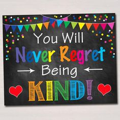 Classroom Kindness Poster Never Regret Being Kind Throw Kindness Around Like Confetti School Counselor Social Worker Anti Bully Poster School Counselor Office, Psychologist Office, School Counseling, School Classroom, Counseling Activities, School Office, Motor Activities, Summer Bulletin Boards, Classroom Bulletin Boards