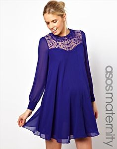 Enlarge ASOS Maternity Swing Dress With Lace Insert And Peter Pan Collar