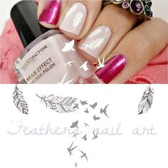 Feathers on nude and pink #maxfactor #nailart #nails #polish #mani - Share/explore more nail looks at bellashoot.com!