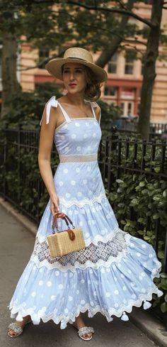 What to wear on Father's Day // Light blue polka dot sleeveless tiered maxi dress, straw tan bolero hat, woven tan box bag, white slides with fringe {Alexis, Janessa Leone, Aquazurra, classic style, summer outfits, fashion blogger}