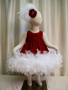 Lovely Cranberry Crepe Beaded Feather Dress & by cd1ofakind