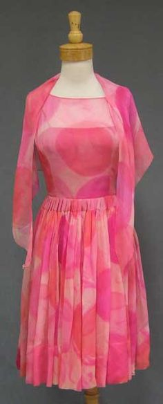 Vibrant Ben Reig Silk Chiffon Cocktail Dress w/ Wrap - Vintageous, LLC