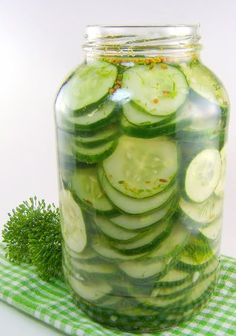 One Perfect Bite: Refrigerator Dill Pickles. My kids love pickles so I made these and they LOVE them. ANd I do because they don't have the chemicals and extras that jarred pickles do. Fruits And Veggies, Vegetables, Do It Yourself Food, Great Recipes, Favorite Recipes, Healthy Recipes, Home Canning, Canning 101, Tasty