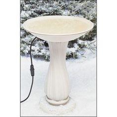 """Allied Precision Industries 20"""" Beige Heated Bird Bath on Pedestal"""