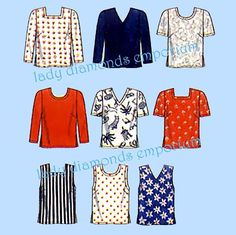 Simplicity 7034 Womens Tops Shirt Blouse Plus Size 18W 20W 22W 24W Bust 40 42 44 46 Vintage Mary Duffy Full Figure Sewing Pattern Uncut FF