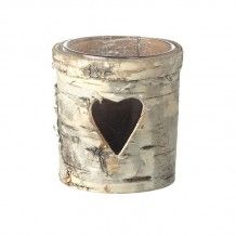 LOG BARK WOODEN TEA LIGHT VOTIVE WITH HEART CUTOUT DETAIL FOR RUSTIC WEDDING OR PARTY DECOR     Candleholders Archives - Hire and Style | Hire and Style