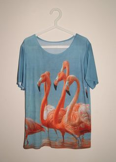 Kup mój przedmiot na #Vinted http://www.vinted.pl/kobiety/koszulki-z-krotkim-rekawem-t-shirty/9826887-koszulka-3d-we-flamingi-nadruk-w-stylu-mr-gugu-and-miss-go