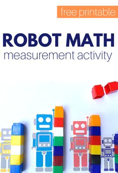 Robot Measurement Math Tray - No Time For Flash Cards Measurement Activities, Math Activities For Kids, Kindergarten Themes, Math Measurement, Kindergarten Lesson Plans, Homeschool Kindergarten, Math For Kids, Preschool Teachers, Preschool Ideas