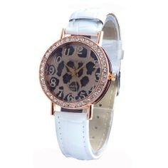 White Band Women Lady Jelly Crystal Leopard Dial Design Casual Wrist Watch Watches Retailstore. $5.67