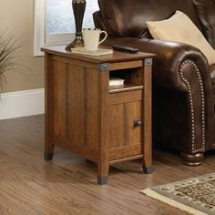 Finish off your living room decor with the Sauder Carson Forge Side Table. This high-quality side table is packed with functional features, including an adj End Tables With Drawers, Side Table With Storage, Wood End Tables, Sofa Tables, Table Storage, Wood Table, Coffee Tables, Table Lamp, Bar Tables