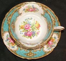 Shelley Bone China Footed Tea Cup & Saucer in Duchess Blue Floral 13403