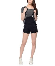 The love of overalls converted into shorts! The Haylee black overall shorts is the season's hit! These super cute, distressed black overall shorts will get multiple compliments anyday of the week.