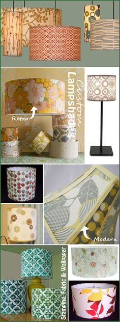 "Buy ""self-adhesive designer shades"" at Jo-Ann's Fabric & Craft store, and put any fabric onto the lamp shades."