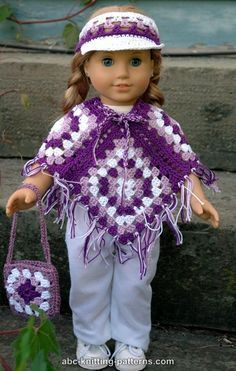 - American Girl Doll Granny Square Poncho free pattern. Links to the visor and bag too.