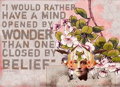 I would rather have a mind opened by wonder than one closed by belief.