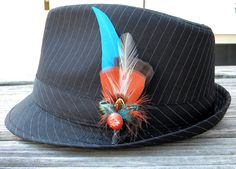 Rockabilly Red & Blue Feather Boutonniere Lapel Pin Wedding Groom Hat Pin. $18.00, via Etsy.