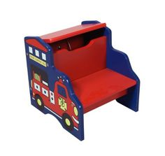 $29.99-$29.99 Baby Gift Mark Fire Engine Step Stool with Storage - 1444  The clean lines and durable construction of the Storage Step Stool with Fire Engine Motif makes it an attractive, yet highly practical addition to any child's room. With a red and blue finish and a fire engine design, this step stool is perfect for your child to get a boost up to hard to reach objects, and you can also lift ...