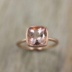 Morganite Ring in 14k Rose Gold Ring Cushion Cut by onegarnetgirl